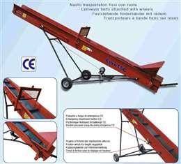 Ηλεκτροκίνητος μεταφορικός ιμάντας (αναβατόριο) Euro T.S.C. Ιταλίας, για τη μεταφορά καυσόξυλων. Μήκος 4m-8m, ύψος 2m-4.2m