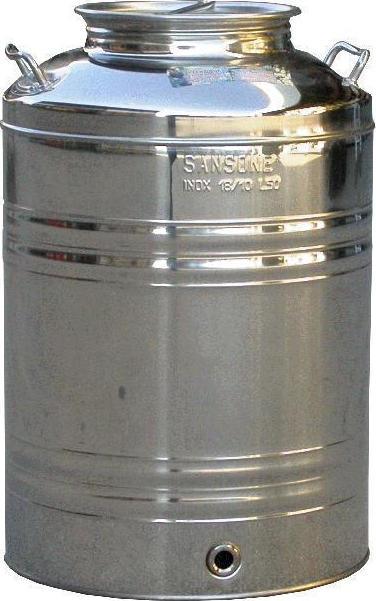 Ανοξείδωτο δοχείο (Inox) με βιδωτό καπάκι 50lt