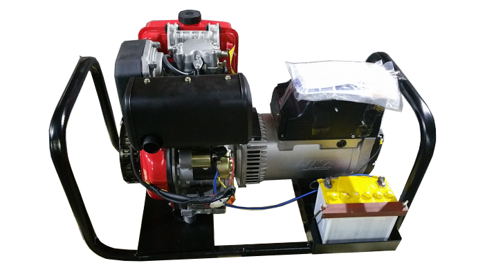 Hλεκτροπαράγωγο ζεύγος 8KVA AVR  linz Ιταλίας με κινητήρα 12hp μίζα και μπαταρία σε βάση με ρόδες.