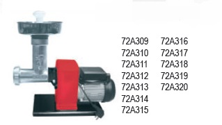 Ηλεκτρική μηχανή αλέσεως κιμά-λουκάνικου 400 watt full inox made in italy