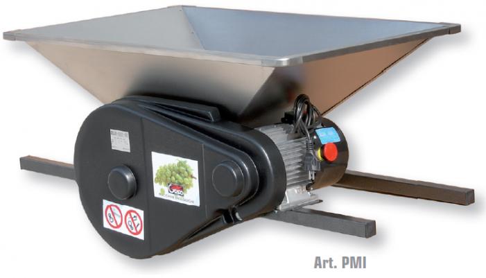Σπαστήρας ηλεκτροκίνητος 1hp 220v με κυλίνδρους - αναδευτήρα - κοχλία 95x60 1500kg/hour PMI inox Griffo