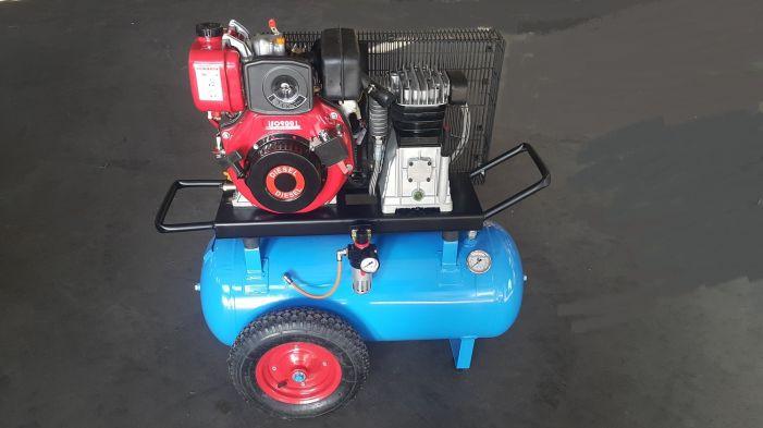 Αεροσυμπιεστής 100 λίτρων με πετρελαιοκινητήρα 10hp και κεφαλή abac 550 lit made in italy