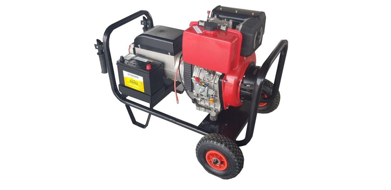 Ηλεκτρογεννήτρια πετρελαίου 380V 9kva 12hp sincro με AVR μίζα μπαταρία σε καρότσι με ρόδες made in italy