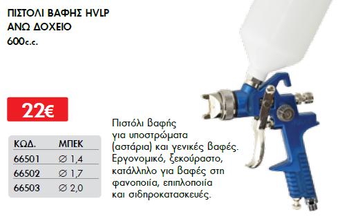 ΠΙΣΤΟΛΙ ΒΑΦΗΣ HVLP ΑΝΩ ΔΟΧΕΙΟ 600c.c. ΜΠΕΚ  2,0