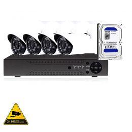 Πλήρες Σύστημα Παρακολούθησης με 4 κάμερες, σκληρό δίσκο 500GB καταγραφικό 1080P