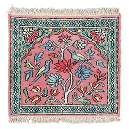 Kashmir silk 46x44cm Oriental Silk Rug