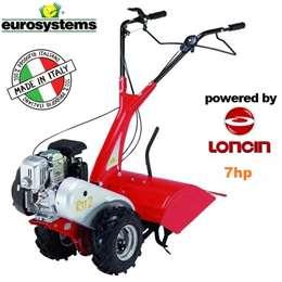 Μοτοκαλιεργητής βενζίνης eurosystem με κινητήρα loncin 7Hp με πλάτος εργασίας 60 εκατοστά