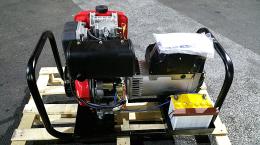 Hλεκτροπαράγωγο ζεύγος 3000 στρ/λ, 8KVA ,AVR με γεννήτρια linz Ιταλίας και κινητήρα 12hp αεροψυκτο Κίνας με μίζα και μπαταρία σε βάση με ρόδες.