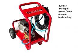 Αποφρακτικό πλυστικό μηχάνημα axel μονοφασικό 120 bar 660 lit/hour made in italy