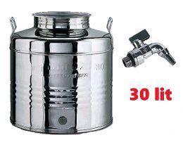 Ανοξείδωτο δοχείο με καπάκι 30 λίτρων κρασιού λαδιού made in italy