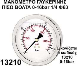 Mανόμετρο γλυκερίνης πίσω βόλτα 1/4 Φ63 0-16bar