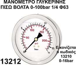 Mανόμετρο γλυκερίνης πίσω βόλτα 1/4 Φ63 0-100bar