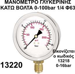 Mανόμετρο γλυκερίνης κάτω βόλτα 1/4 Φ63 0-100bar