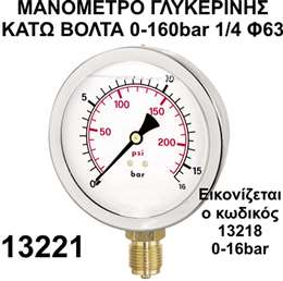 Mανόμετρο γλυκερίνης κάτω βόλτα 1/4 Φ63 0-160bar