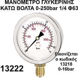 Mανόμετρο γλυκερίνης κάτω βόλτα 1/4 Φ63 0-250bar