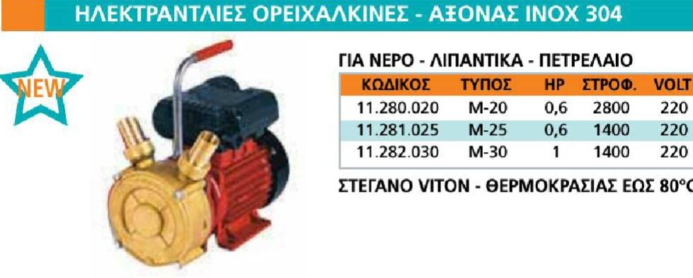 Ηλεκτραντλία ορεχάλκινη 0.6hp 2800rpm 220V 3/4